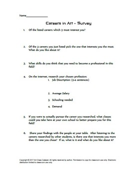 Careers in Art Video Activity (Video Worksheet, Research Activity, and Quiz!)