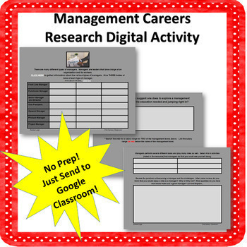 Careers in Management Digital Research Activity-NO PREP!