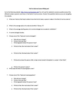 Careers in Marine Science Webquest