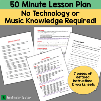 """Substitute Lesson Plan """"Careers in Music"""" for Band, Orchestra or Choir"""