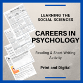 Careers in Psychology Reading with Questions and a Short Writing Activity