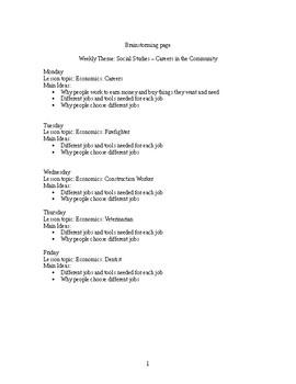 Careers in the Community - Social Studies/Economics Week Unit Plan