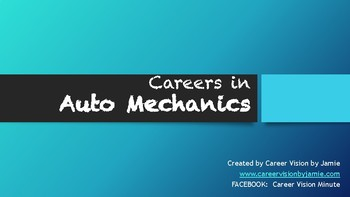Careers with Auto Mechanics/ Cars- GREAT CTE RESOURCE