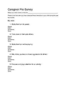 Caregiver  Pre and Post Survey