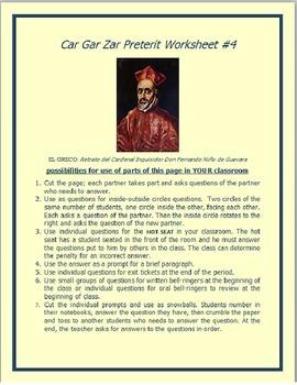 Cargarzar Preterit Worksheet #4 SPANISH