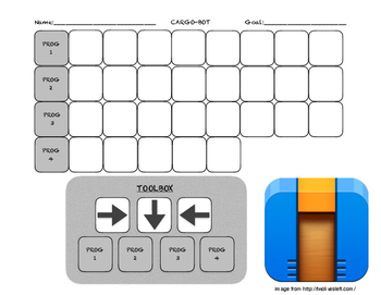 Cargo-Bot Level Easy B&W Solution Template