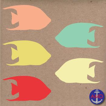 Caribbean Angelfish Clip Art- Summer, Fish & Ocean Clip Art