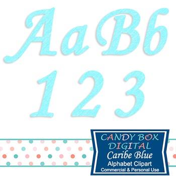 Caribbean Blue Cursive Alphabet Clip Art