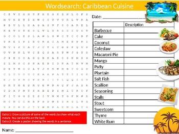 Caribbean Cuisine Wordsearch Sheet Starter Activity Keywords Food
