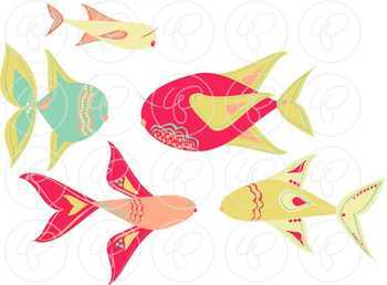 Caribbean Dream Fish Clipart & Digital Paper Set by Poppydreamz