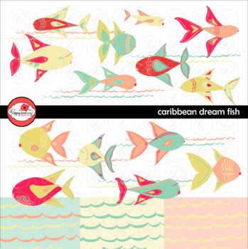 Caribbean Dream Fish Clipart & Digital Paper Set by Poppydreamz