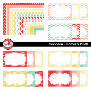 Caribbean Frames and Labels Digital Borders Clipart by Poppydreamz