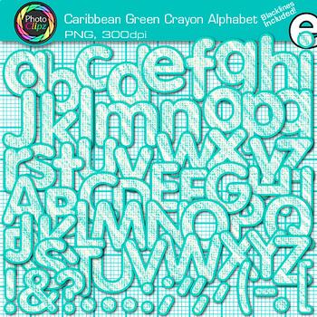 Caribbean Green Crayon Alphabet Clip Art {Great for Classroom Decor & Resources}