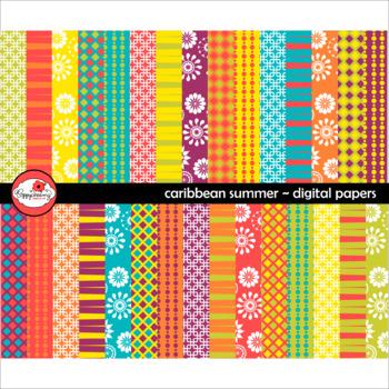 Caribbean Summer Digital Paper by Poppydreamz