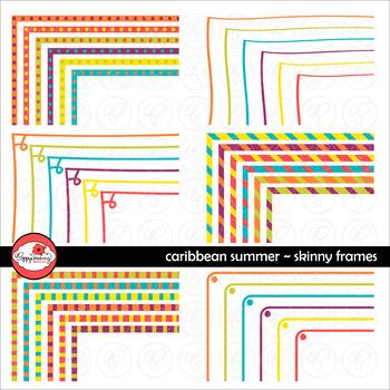 Caribbean Summer Skinny Frames Mega Pack Digital Borders Clipart by Poppydreamz