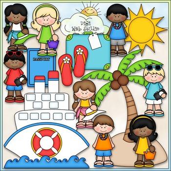 Caribbean Vacation Clip Art - Family Vacation Clip Art - CU Clip Art & B&W