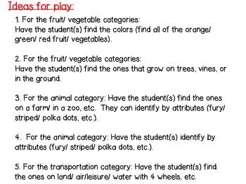 Cariboo Categories: Animals, Fruit, Vegetables, and Transportation