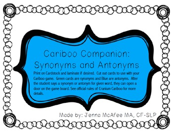 Cariboo Companion Synonyms and Antonyms  sc 1 st  Teachers Pay Teachers & Cariboo Companion: Synonyms and Antonyms by Forever and a Mae | TpT