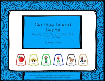 Cariboo Island Cards for /p/, /b/, /t/, /d/, /m/, /n/, /h/, and /w/
