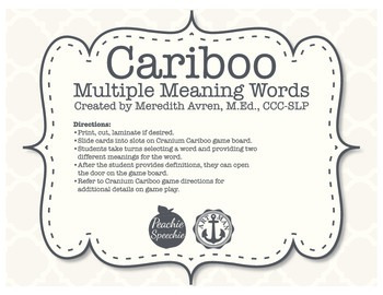 Cariboo Multiple Meaning Words