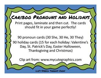Cariboo Pronouns and Holidays