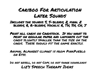 Cariboo for Articulation - Late Sounds