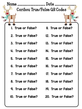 Caribou True/False QR Code Activity
