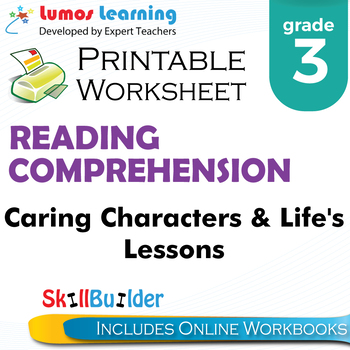 Caring Characters & Life Lessons Printable Worksheet, Grade 3