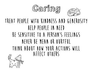 Caring Classroom Sign // Character Counts // Pillars of Character