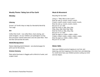 Caring For the Earth Lesson Plan