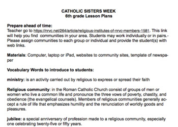 Caring for Everyone: How Catholic Sisters Help - 6th grade