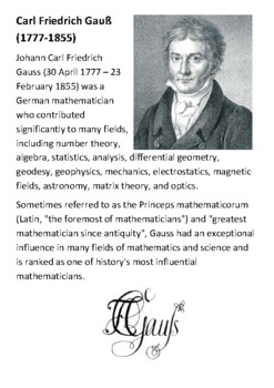 Carl Friedrich Gauß Handout