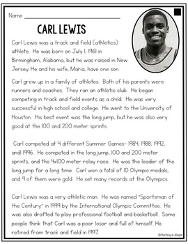 Carl Lewis: Differentiated Biography Passages & Reading Comprehension