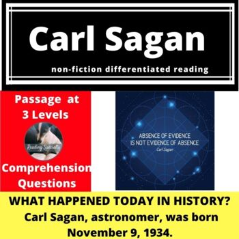 Carl Sagan Differentiated Reading Passage, November 9