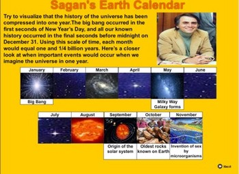 Carl Sagan's Cosmic Calendar - Bill Burton