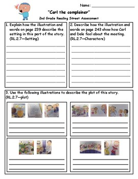 Carl the Complainer Reading Street 2nd Grade Assessment