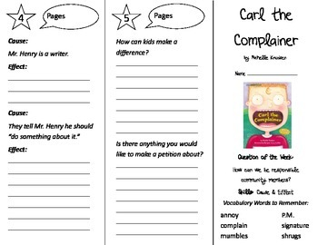 Carl the Complainer Trifold - Reading Street 2nd Grade Unit 5 Week 2