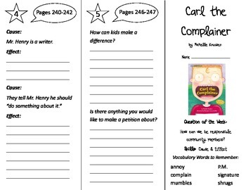 Carl the Complainer Trifold - Reading Street 2nd Grade Uni