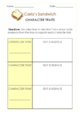 Carla's Sandwich Character Trait Graphic Organizers ~ Storyline Online ~