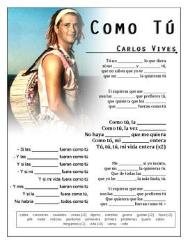 """Carlos Vives - """"Como Tú"""" Cloze Song Sheet! Spanish!"""