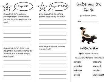 Carlos and the Skunk Trifold - Treasures 5th Grade Unit 4