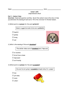 McGraw Hill Wonders - 3rd Grade - Carlos's Gift Comprehension Activity