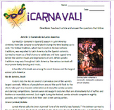 Carnaval: Latin American Carnival Reading Activities and Substitute Plan
