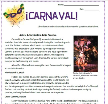 Carnaval: Latin American Carnival Reading and Sub Plan