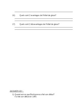 Carnaval Reading Assessment- Ontario Core French (with answer key)