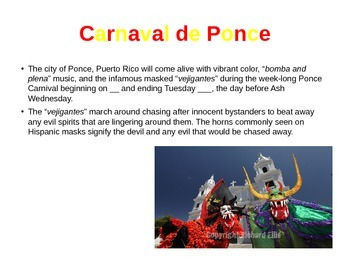 """""""Carnaval"""" and """"Vejigante de Puerto Rico"""" PowerPoint for Spanish and ELD"""
