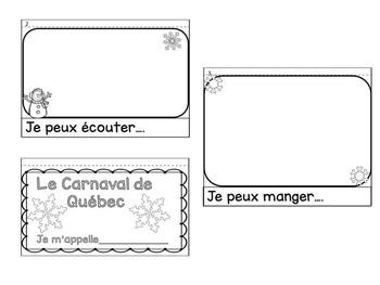 Carnaval de Quebec Flipbook brochure Activity with Rubric