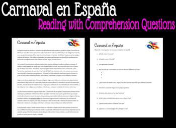 Carnaval en España - Reading with Comprehension Questions