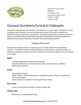 Carnaval for Spanish II Grades 7 to 12