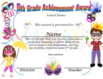 Carnival 5th grade Achievement award Complete Editable!!!! English & Spanish